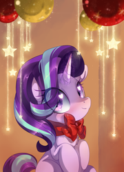 Size: 1311x1819 | Tagged: safe, artist:loyaldis, starlight glimmer, pony, unicorn, blushing, bow, chest fluff, christmas, cute, female, glimmerbetes, glowing horn, happy, heart eyes, holiday, horn, looking at you, mare, ornament, ribbon, sitting, smiling, solo, sparkles, stars, wingding eyes