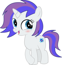 Size: 5844x6157 | Tagged: safe, artist:cyanlightning, oc, oc only, oc:glam rock, unicorn, 2018 community collab, derpibooru community collaboration, .svg available, absurd resolution, blushing, cute, female, filly, looking at you, ocbetes, simple background, solo, transparent background, vector
