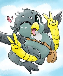 Size: 1707x2048 | Tagged: safe, artist:gamijack, gabby, griffon, bag, cute, female, gabbybetes, gesture, heart, midair, one eye closed, open mouth, peace sign, solo, wink