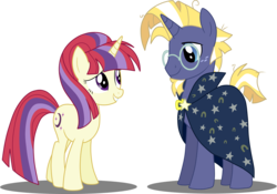 Size: 3606x2527 | Tagged: safe, artist:luckyclau, moondancer, star tracker, pony, unicorn, alternate universe, cape, clothes, female, freckles, glasses, male, mare, moontracker, palette swap, race swap, recolor, shipping, simple background, stallion, transparent background
