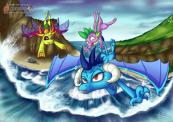 Size: 1280x905 | Tagged: safe, artist:calena, princess ember, spike, thorax, changedling, changeling, dragon, triple threat, adventure, claws, dragon lord ember, female, horn, king thorax, male, mountain, patreon, patreon logo, perspective, signature, sky, underhoof, water, wave