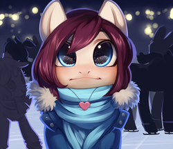 Size: 3000x2586 | Tagged: safe, alternate version, artist:aphphphphp, oc, oc only, oc:tulip, pony, :i, clothes, commission, ice rink, ice skates, ice skating, jewelry, necklace, scarf, solo focus, ych result