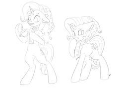 Size: 4093x2894 | Tagged: safe, artist:faline-art, starlight glimmer, trixie, pony, belly button, bipedal, black and white, clothes, commission, cup, duo, duo female, empty eyes, female, floppy ears, giggling, grayscale, hat, lineart, magic, monochrome, open mouth, raised eyebrow, raised hoof, scarf, simple background, smiling, teacup, telekinesis, underhoof, white background