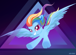 Size: 3484x2549 | Tagged: safe, artist:pedrohander, rainbow dash, pegasus, pony, abstract background, flying, smiling, solo, spread wings, wings