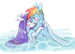 Size: 1565x1128 | Tagged: safe, artist:xenon, rainbow dash, rarity, pegasus, pony, unicorn, blushing, female, lesbian, looking at each other, mare, raridash, shipping, simple background, smiling, swimming, water, wet, wet mane, white background