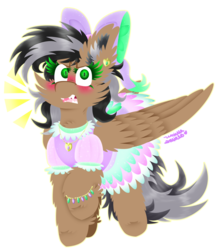 Size: 2889x3223 | Tagged: safe, artist:vanillaswirl6, oc, oc only, oc:artsong, pegasus, pony, blushing, bow, bracelet, clothes, colored eyelashes, colored pupils, cute, dress, ear piercing, earring, embarrassed, female, gift art, girly, hair bow, jewelry, looking at you, mare, necklace, open mouth, piercing, raised hoof, ruffles, sharp teeth, simple background, solo, sparkles, teeth, transparent background