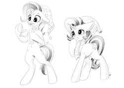 Size: 4093x2894 | Tagged: safe, artist:faline-art, starlight glimmer, trixie, pony, belly button, bipedal, black and white, clothes, commission, cup, duo, duo female, ear fluff, female, floppy ears, giggling, grayscale, hat, lineart, magic, monochrome, open mouth, raised eyebrow, raised hoof, scarf, shaded sketch, simple background, sketch, smiling, teacup, telekinesis, underhoof, white background