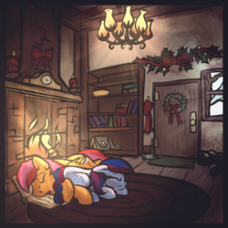 Size: 1800x1800   Tagged: safe, artist:amura-of-jupiter, oc, oc only, earth pony, pegasus, pony, book, bookshelf, boots, bow, candle, chandelier, christmas, christmas wreath, clock, clothes, commission, door, female, fire, fireplace, holiday, holly, indoors, male, mistletoe, oc x oc, orange fur, rug, saddle bag, scarf, shelf, shipping, shoes, sleeping, snow, window, wooden floor, wreath