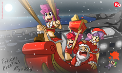 Size: 2500x1500 | Tagged: safe, artist:ryured, apple bloom, scootaloo, spike, sweetie belle, human, adorasexy, armpits, belt, blank eyes, blood, boots, christmas, clothes, cute, cutie mark crusaders, explosive nosebleed, eyes closed, full moon, holiday, humanized, legs, midriff, miniskirt, moon, night, nosebleed, on back, santa claus, sexy, shoes, short shirt, skirt, skirt lift, skirtaloo, sled, smiling, snow, snowfall, strategically covered, thighs, this will end in tears and/or death and/or covered in tree sap, upskirt denied