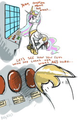 Size: 1300x1956 | Tagged: safe, artist:bigrigs, princess celestia, alicorn, pony, leak, 12/16/17, accident, buttons, computer, g5 drama, hoof shoes, remove kebab, solo