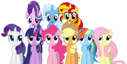 Size: 7178x3617 | Tagged: safe, artist:ramseybrony17, applejack, fluttershy, pinkie pie, rainbow dash, rarity, starlight glimmer, sunset shimmer, trixie, twilight sparkle, earth pony, pegasus, pony, unicorn, female, high res, magical quartet, magical quintet, magical trio, mane six, mare, simple background, transparent background, unicorn twilight, vector