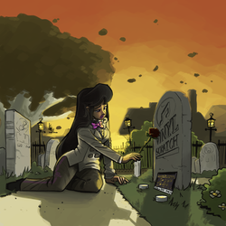 Size: 1000x1000 | Tagged: safe, artist:theartrix, dj pon-3, octavia melody, vinyl scratch, human, candle, cemetery, dramatic lighting, dramatic pose, fanfic, fanfic art, fanfic cover, feels, female, flower, grave, gravestone, humanized, implied death, implied lesbian, implied scratchtavia, implied shipping, rose, sad, solo