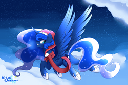 Size: 6000x4000 | Tagged: absurd res, alicorn, artist:xwhitedreamsx, christmas, clothes, female, flying, hat, holiday, looking back, mare, night, pony, princess luna, safe, santa hat, scarf, smiling, solo