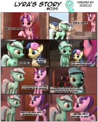Size: 3928x4908 | Tagged: 3d, artist:goatcanon, bacon braids, bon bon, boop, comic, comic:lyra's story, dialogue, equal cutie mark, equal town, lyra heartstrings, noseboop, nose wrinkle, party favor, safe, source filmmaker, starlight glimmer, starlight's village, sweetie drops, text