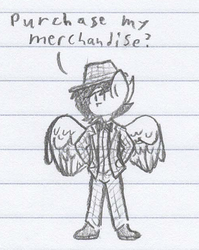 Size: 500x627 | Tagged: anthro, artist:binary6, bowtie, chibi, clothes, doodle, lined paper, male, monochrome, oc, oc only, oc:polymer cog, pegasus, safe, solo, suit, traditional art