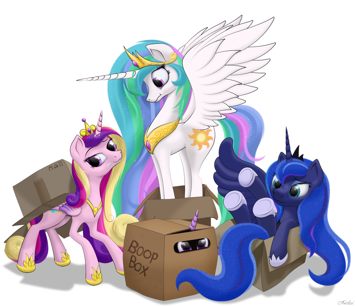 1610848 - safe, artist:awalex, princess cadance, princess celestia,  princess luna, twilight sparkle, alicorn, cat, cat pony, original species,  pony, alicorn tetrarchy, behaving like a cat, boop box, box, butt,  cadabetes, caddybetes, cardboard