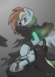 Size: 1024x1446   Tagged: safe, artist:dfectivedvice, artist:lorthiz, color edit, edit, rainbow dash, colored, crossover, dishonored, female, solo, vector