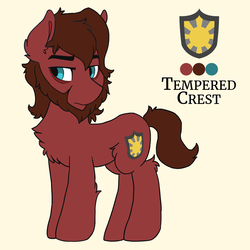 Size: 1280x1280 | Tagged: safe, artist:saxopi, oc, oc only, oc:tempered crest, earth pony, pony, beard, chest fluff, cutie mark, facial hair, leg fluff, male, reference sheet, simple background, solo, stallion