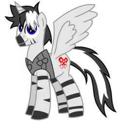 Size: 1200x1200 | Tagged: 2018 community collab, alicorn, alicorn oc, artist:toyminator900, clothes, derpibooru community collaboration, derpibooru exclusive, oc, oc:chaotic mind, oc only, safe, simple background, solo, transparent background, zebra, zebra alicorn, zebra oc