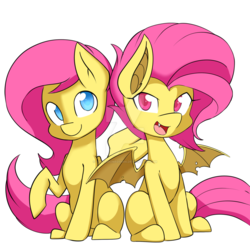 Size: 1024x1024   Tagged: safe, artist:demonfox, fluttershy, bat pony, pegasus, pony, cute, cute little fangs, duality, duo, fangs, female, flutterbat, looking at you, mare, open mouth, race swap, raised hoof, self ponidox, shyabates, shyabetes, simple background, sitting, smiling, watermark, white background