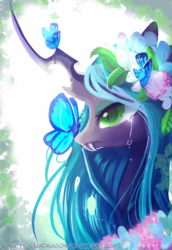 Size: 514x749 | Tagged: safe, artist:nutty-stardragon, queen chrysalis, butterfly, changeling, changeling queen, beautiful, crying, cute, cutealis, female, flower, flower in hair, mare, sad, solo