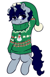 Size: 3027x4666 | Tagged: safe, artist:wickedsilly, oc, oc only, oc:sleepy head, pony, arm behind head, christmas, clothes, hat, holiday, male, santa hat, simple background, smiling, solo, stallion, sweater, transparent background