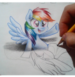 Size: 480x490 | Tagged: safe, artist:janadashie, rainbow dash, pegasus, pony, cute, dashabetes, drawing, drawn into existence, female, hand, hoofbump, illusion, mare, open mouth, pencil, raised hoof, smiling, spread wings, traditional art, wings