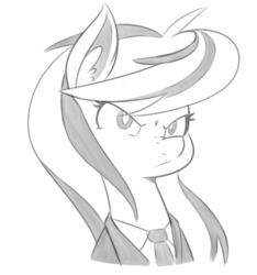 Size: 545x582 | Tagged: dead source, safe, artist:reiduran, oc, oc only, oc:ostria chime, pony, bust, clothes, ear fluff, female, grayscale, mare, monochrome, necktie, portrait, serious, serious face, suit