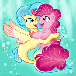Size: 1024x1024 | Tagged: safe, artist:yoshimarsart, pinkie pie, princess skystar, seapony (g4), my little pony: the movie, bubble, cute, diapinkes, female, fins, fish tail, flower, flower in hair, hug, jewelry, lesbian, looking at each other, necklace, one eye closed, open mouth, pearl necklace, seaponified, seapony pinkie pie, shipping, skyabetes, skypie, smiling, species swap, tail, underwater, water, watermark, wink