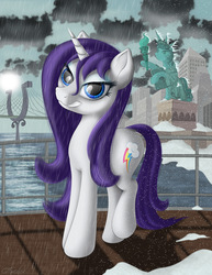 Size: 2400x3111 | Tagged: safe, artist:awalex, rarity, magical mystery cure, female, high res, looking at you, manehattan, rain, smiling, snow, solo, statue of liberty, swapped cutie marks, wet, wet mane, wet mane rarity