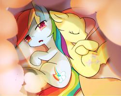 Size: 600x478 | Tagged: safe, artist:youhoujou, fluttershy, rainbow dash, pony, cloud, cute, dashabetes, duo, duo female, eyes closed, female, looking at you, lying down, mare, on side, shyabetes, sleeping, sleepy, wingless