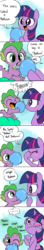 Size: 500x2814 | Tagged: safe, artist:emositecc, spike, twilight sparkle, dragon, pony, baby, baby dragon, baby spike, balloon, comic, cringing, cute, dialogue, female, filly, filly twilight sparkle, mama twilight, nom, speech bubble, spikabetes, twiabetes, wilight parkle, younger