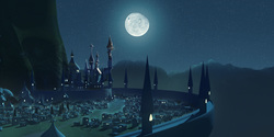 Size: 14000x7000 | Tagged: safe, artist:minty root, absurd resolution, canterlot, moon, night, no pony, scenery, scenery porn