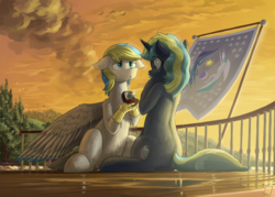 Size: 4550x3250 | Tagged: safe, artist:the-minuscule-task, oc, oc only, oc:cirrus sky, oc:electro current, bird, hippogriff, pony, unicorn, beautiful, blushing, boat, cirrent, cloud, crying, digital multimeter, engagement ring, equestrian flag, female, flag, flag pole, lake, male, mare, marriage proposal, mountain, ring, shipping, smoke, stallion, steamboat, sunset, talons, tree