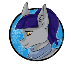 Size: 500x500 | Tagged: safe, artist:stardust, oc, oc only, oc:fruity blossom, earth pony, pony, bust, clothes, portrait, scarf, simple background, snow, snowflake, solo, transparent background