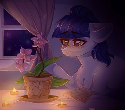 Size: 1687x1487 | Tagged: safe, artist:crybaby, oc, oc only, oc:fruity blossom, blushing, candle, candlelight, curtains, dark, flower, flower pot, heart eyes, night, notes, sitting, solo, stars, window, wingding eyes