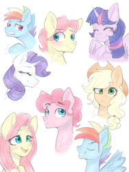 Size: 3000x4000 | Tagged: safe, artist:waterz-colrxz, applejack, fluttershy, pinkie pie, rainbow dash, rarity, twilight sparkle, alicorn, pony, adoraberry, adorascotch, blitzabetes, blushing, bubble berry, bust, butterscotch, cute, high res, male, mane six, rainbow blitz, rule 63, rule63betes, simple background, stallion, twilight sparkle (alicorn), white background