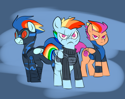 Size: 1010x799 | Tagged: safe, artist:metal-kitty, rainbow dash, scootaloo, soarin', pegasus, pony, fanfic:rainbow factory, alternate hairstyle, alternate universe, clothes, eye scar, female, goggles, mare, older, older scootaloo, scar, serious, serious face, story included, uniform
