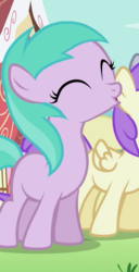 Size: 418x819 | Tagged: safe, screencap, alula, aura (character), derpy hooves, pluto, earth pony, pony, the cutie pox, :o, aurabetes, background pony, cropped, eyes closed, female, filly, o, o mouth, open mouth, solo focus