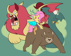 Size: 1293x1017 | Tagged: safe, artist:metal-kitty, fluttershy, bear, cockatrice, draconequus, manticore, alternate universe, animal, draconequified, female, flutterbadass, flutterequus, green background, quartet, riding, serious, serious face, simple background, species swap, story included