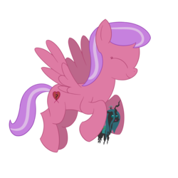 Size: 1500x1500 | Tagged: 2018 community collab, artist:evan555alpha, derpibooru community collaboration, female, flying, mare, oc, oc only, pegasus, plushie, pointy ponies, pony, queen chrysalis, safe, simple background, striped mane, transparent background