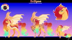 Size: 1788x1005 | Tagged: safe, artist:bijutsuyoukai, oc, oc only, oc:eclipse, bat pony, armor, female, magical lesbian spawn, mare, offspring, parent:princess celestia, parent:sunset shimmer, parents:sunsestia, reference sheet, solo