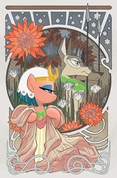 Size: 600x912 | Tagged: safe, artist:tonyfleecs, somnambula, dog, jackal, pony, idw, legends of magic, spoiler:comic, spoiler:comiclom10, anubis, clothes, cover, dogman, female, flower, glowpaz, lidded eyes, mare, modern art, nouveau, official comic, profile, spear, weapon