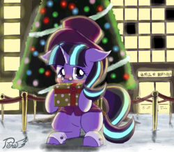 Size: 862x751 | Tagged: artist:phoenixperegrine, christmas, christmas tree, clothes, cute, female, glasses, glimmerbetes, hat, holiday, mare, pony, present, safe, snow, snowfall frost, solo, starlight glimmer, tree, unicorn