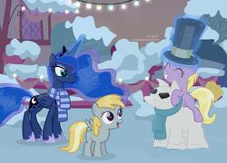 Size: 3895x2801 | Tagged: safe, artist:shutterflyeqd, chirpy hooves, dinky hooves, princess luna, pony, clothes, crown, cute, female, filly, folded wings, hat, jewelry, luna day, lunabetes, mare, regalia, scarf, shoes, snow, snowpony, spread wings, top hat, wings