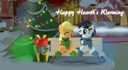 Size: 3805x2090 | Tagged: applejack, artist:jhayarr23, bench, christmas, christmas tree, clothes, coloratura, hearth's warming, holiday, ponyville, present, safe, scarf, snow, snowfall, tree, vector, wallpaper