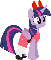 Size: 370x438 | Tagged: safe, artist:selenaede, artist:user15432, twilight sparkle, alicorn, pony, base used, blossom (powerpuff girls), bow, cartoon network, clothes, crossover, dress, female, mare, my little pony, pink dress, red bow, solo, the powerpuff girls, twilight sparkle (alicorn)
