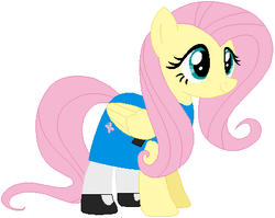 Size: 448x357 | Tagged: safe, artist:selenaede, artist:user15432, fluttershy, pegasus, pony, base used, blue dress, bubbles (powerpuff girls), cartoon network, clothes, crossover, female, mare, my little pony, solo, the powerpuff girls