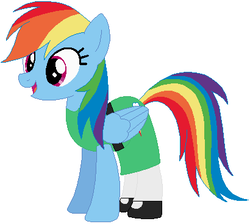 Size: 410x368 | Tagged: safe, artist:selenaede, artist:user15432, rainbow dash, pegasus, pony, base used, buttercup (powerpuff girls), cartoon network, clothes, crossover, female, green dress, mare, my little pony, solo, the powerpuff girls