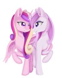 Size: 887x1115 | Tagged: safe, artist:dusthiel, fleur-de-lis, princess cadance, alicorn, unicorn, bedroom eyes, colored pupils, female, fleurdance, hug, infidelity, lesbian, looking at each other, mare, raised hoof, shipping, simple background, smiling, transparent background, winghug